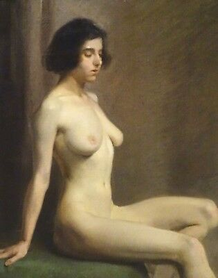 Large 19th Century Nude Naked Portrait Of A Girl Lady Antique Harold KNIGHT