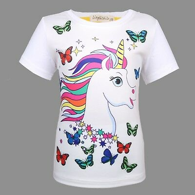 US Stock Toddler Kids Girls Unicorn Butterfly Tops T-shirt Clothes Costume O51