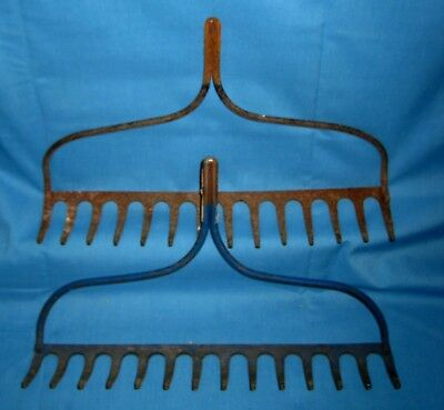 Lot 2 VTG/Antique Old Shabby 14 Tine Prong Farm Garden Rake Heads Tool 1-BLUE!