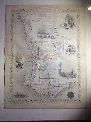 John Tallis Antique Map 1851 Western Australia Original