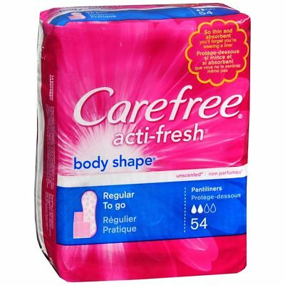 CAREFREE Acti-Fresh Body Shape Regular To Go Pantiliners - 54 EA (2 Packs)