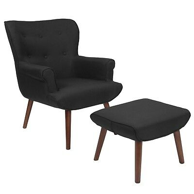 Black Modern Mid Century Design Chair and Ottoman Set Lounge Accent Retro Tufted