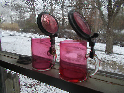 """Pair Of Antique Cranberry Glass 4""""beer Steins Pewter & Glass Lids Applied Handle"""