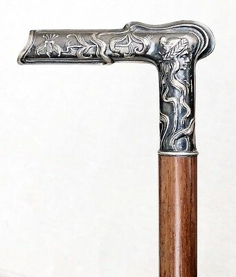 Vintage Antique Continental Sterling Silver Niello Handle Walking Stick Cane Old
