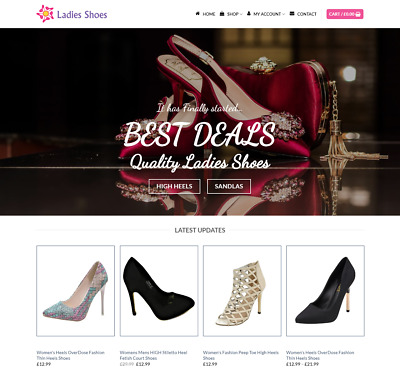 Ladies Shoes Website For Sale - Earn £395.00 A SALE. Free Domain| Web Hosting