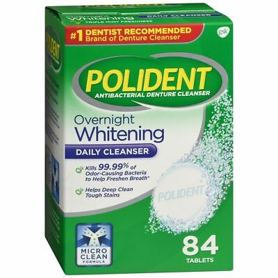 Polident Overnight Whitening Tablets - 84 TB (2 Packs)