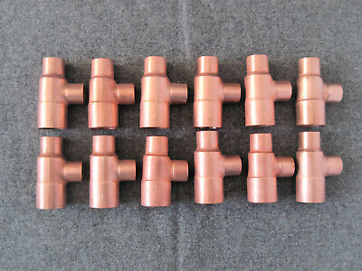 12 Nibco 3/4X1/2X1/2 Copper Sweat Solder Tees ((Free Shipping))