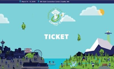 Eccc 2019 Emerald City Comic Con 4-Day Adult Ticket Badge 3/14 - 3/17 Sold Out!