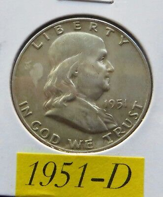 1951 D  Circulated Franklin Half Dollar ~ 90% Silver ~ Invest In Silver