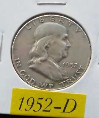 1952  D  Circulated Franklin Half Dollar ~ 90% Silver ~ Invest In Silver