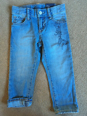 BNWT GAP Boys Blue Character Monster Slim Leg Jeans Adjustable Waist 3 Years