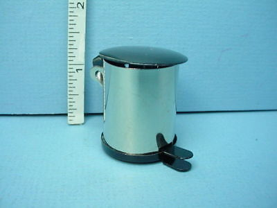 Dollhouse Miniature Trash Garbage Can Stainless Steel with Flip Lid ~ IM66014