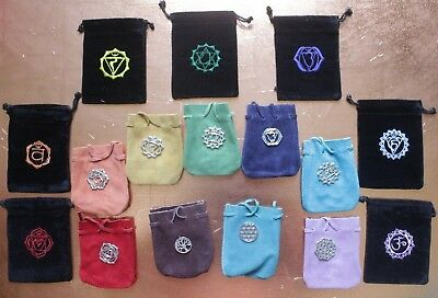 Velvet or Suede Pouch Bag Tumbled Stones Tarot Card Deck Oracle Wiccan 7 Chakras