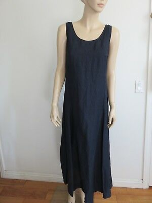 e31d0a912f8 J Crew Dark Blue Linen Blend Fit Flared Sleeveless Shift Maxi Dress Size 4  (S