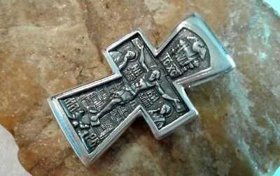 Sterling Silver Orthodox Iconic Crucifix Baptism Of Jesus St. John Baptist