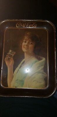 AUTHENTIC COKE COCA COLA 1923 GIRL ADVERTISING SERVING TIN TRAY a very rare find