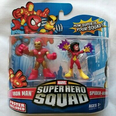 IRON MAN & SPIDER-WOMAN Marvel Super Hero Squad 2 pack figures 2009 Poster NIP