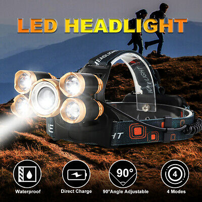 300000LM T6 LED Rechargeable Headlamp Headlight Head Torch Camping 18650 Battery