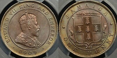 Jamaica 1909 Penny PCGS MS64 Choice Uncirculated Eye Appeal Stunning Coin