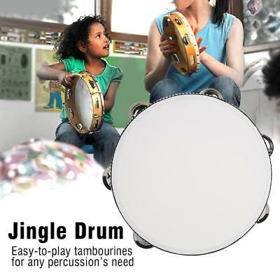 "8"" Hand Held Tambourine Drum Bell Wood Metal Jingles Percussion Musical Toy Gift"