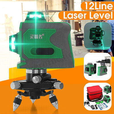 3D 12 Line Green Light Laser Level Auto Self-Leveling 360° Rotary Cross Measure