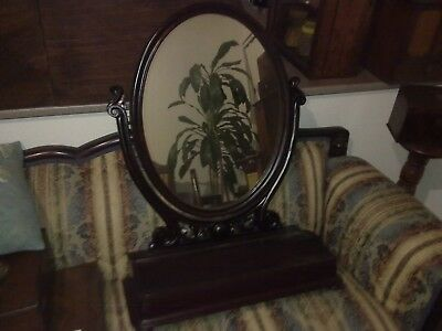 Victorian swivel mirror with compartment, antique