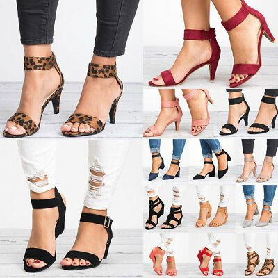 Women High Heel Midi Low Wadge Pointed Toe Ankle Strap Sandals Casual Shoes Size