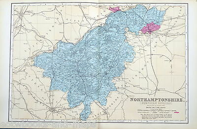 NORTHAMPTONSHIRE, 1883 - Original Antique County Map - BACON.