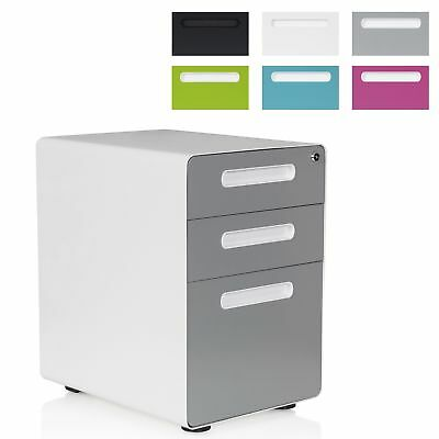 3 Drawer Unit Castors Metal Lockable Under Desk Storage Office Furniture COLOR P