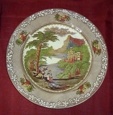 "Royal Staffordshire 1795 Jenny Lind 12.5"" Polychrome Chop Plate or Charger"