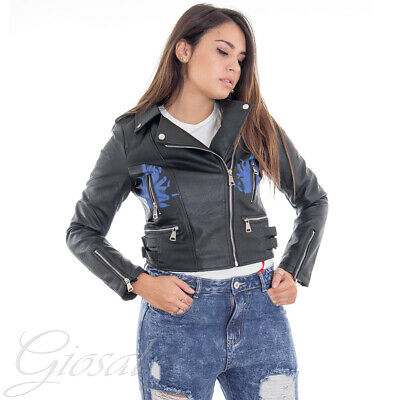 giacca in similpelle donna rock