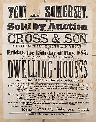 1885 Large Auction Poster for Houses in Park Street, Yeovil