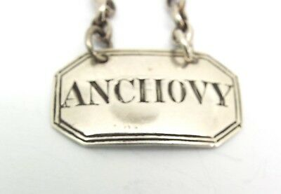 Anchovy Sauce Decanter Label Solid Sterling Silver William Summers London 1865