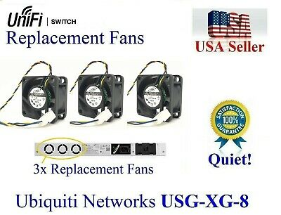 PACK OF 3X Quiet Version replacement fans for Ubiquiti Unifi USG‑XG‑8
