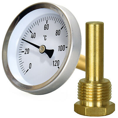 "DIAL Thermometer 1/2"" Boiler Back Entry Oven Stove Furnace 120°C thread screw in"