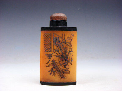 Bone Crafted Snuff Bottle Exotic Ancient Figurines Painted w/ Spoon #01301907