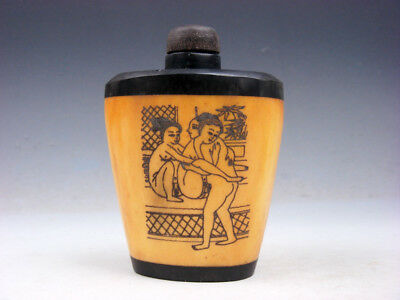 Bone Crafted Snuff Bottle Exotic Ancient Figurines Painted w/ Spoon #01301909
