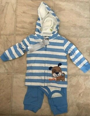 First Impressions Baby Boys 3 Piece Long Sleeve Set Outfit Woof Dog Size 3-6M