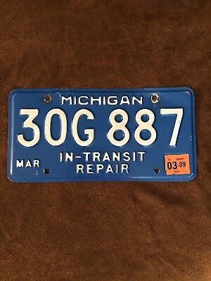 Michigan License Plate ~IN-TRANSIT REPAIR 30G 887