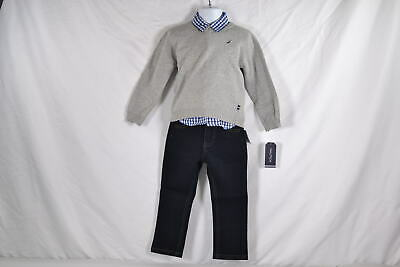 Baby Boy's Nautica Three Piece Set with Sweater, Button Shirt, and Pants