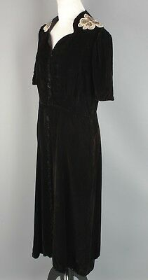 VTG Women's 1930s 1940s Black Velvet Shirtwaist Dress #2314 30s 40s Goth