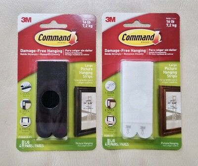 2 Pack 3M Command Damage Free Large Picture Hanging Strips (8 Pair) Holds 16 lb