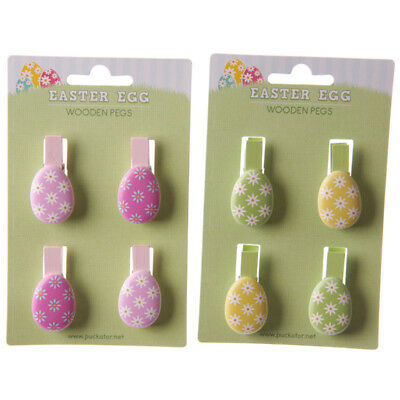 8 Easter Egg Craft Pegs: 4 Yellow & Green and 4 Pink - Photo Peg, Notice Board