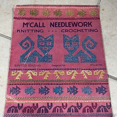 VTG 45 McCall Needlework Knitting Crocheting Magazine Winter Junk Journal
