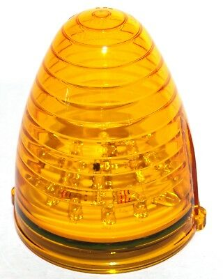 Lights (5) 19 amber LEDs amber lens beehive for Peterbilt Grakon top of cab lite