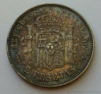 1879 Spain 2 Pesetas .835 Silver Extra Fine Details Coin
