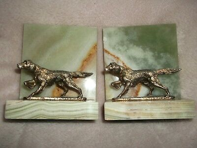 Vintage Hunting Dog Bookends Pointer Setter Gilt Onyx Marble Green Antique