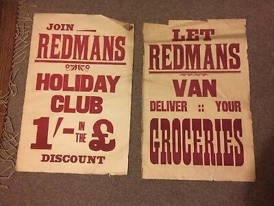 2 Vintage Redman's Posters Large English 1920's Grocery Red Retro shillings