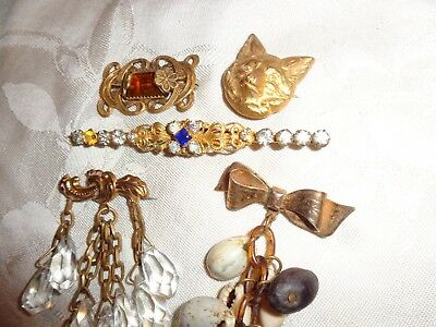 Vintage Victorian Art Nouveau Pin Lot Of 5 Old Estate
