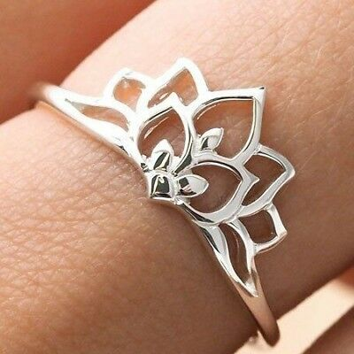 Sterling Silver Dainty Minimalist Lotus Flower Ring 925 Jewellery Boho Simple